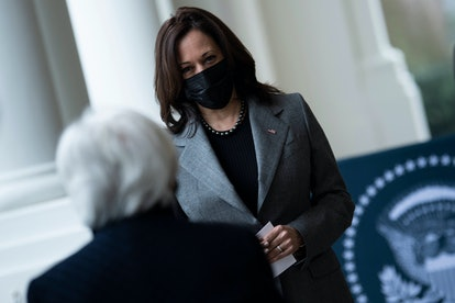 US Vice President Kamala Harris (L) speaks with US Secretary of the Treasury Janet Yellen after a ceremonial swearing in at the White House on January 26, 2021, in Washington, DC. - The US Senate on Monday voted by a wide margin to confirm Janet Yellen as the first woman to lead the Treasury Department, giving her a key role in Congress negotiations over a huge Covid-19 economic relief package.