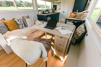 The interior of a tiny Ikea house.