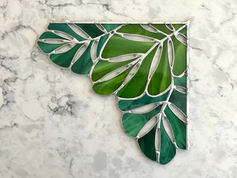 Green Tropical Leaf Stained Glass Corner Panel