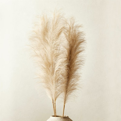 "Faux Pampas Grass Taupe Stem 39"" Set of 3"