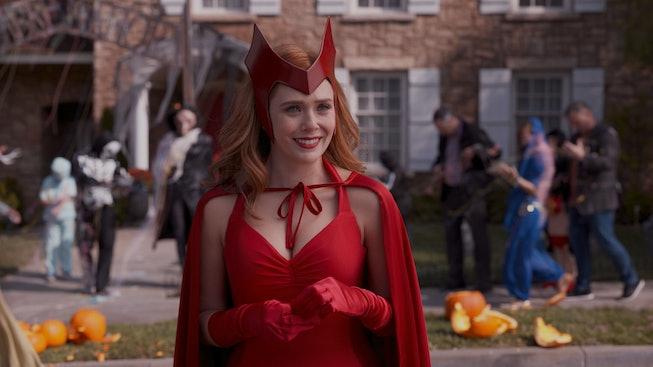 Elizabeth Olsen dressed as WandaVision, wearing a Halloween costume