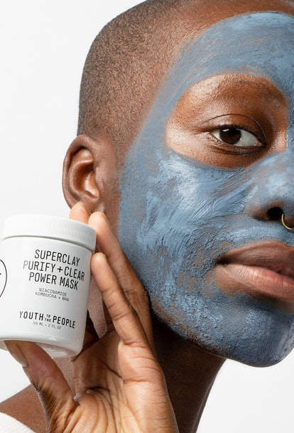 Youth To The People's new Superclay mask on model's face.