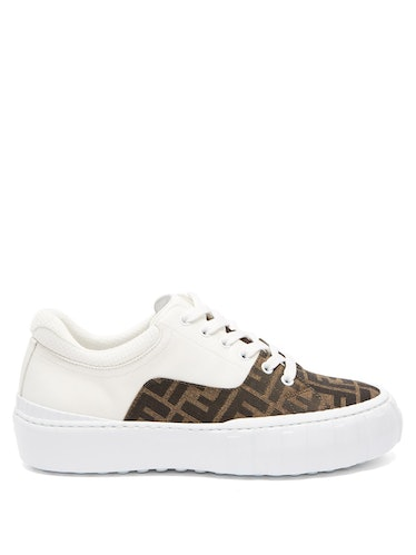 FF-Jacquard Twill and Leather Trainers