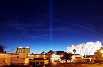 Luxor pyramid; light beam at top