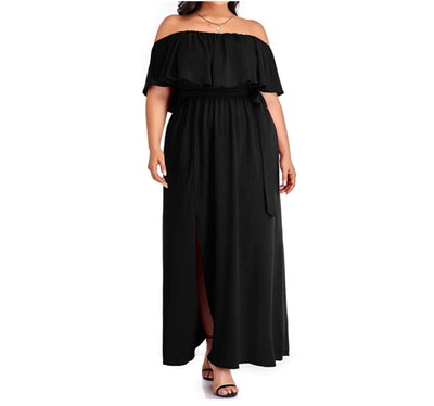 Pinup Fashion Plus Size Strapless Maxi Dress