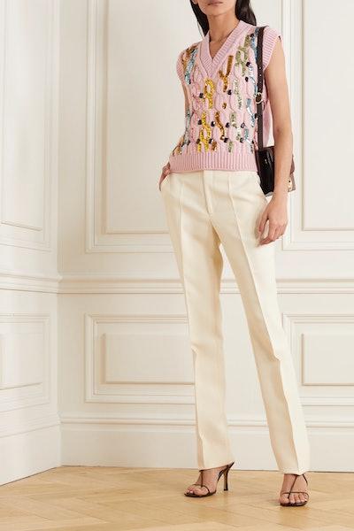 Embellished Cable-Knit Wool Vest