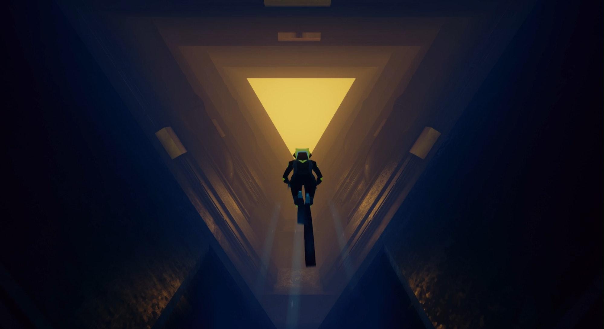abzu screenshot diver looking into triangular door opening
