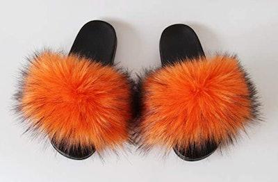 QMFUR Faux Fur Slippers