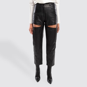 Atari Black Leather Cut Out Pants