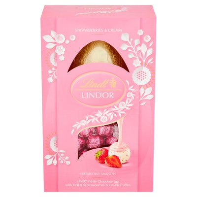 Lindt White Chocolate Easter Egg with Lindor Strawberries & Cream Truffles