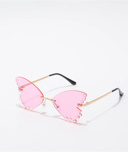 Zumiez Butterfly Jewel Pink Sunglasses