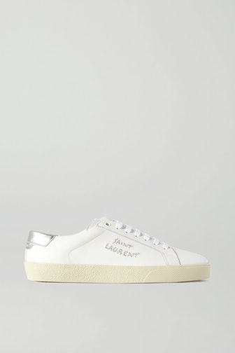 Court Classic Metallic Logo-Embroidered Leather Sneakers