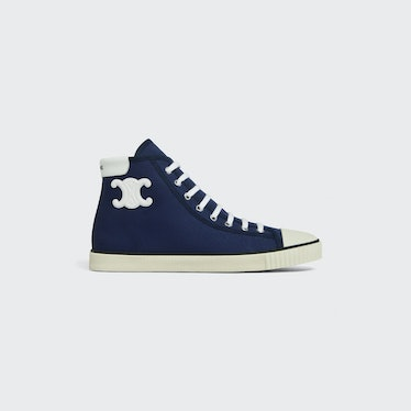 Blank Mid Lace Up Sneaker With Toe Cap