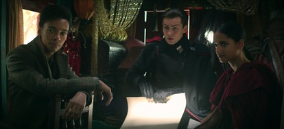 Freddy Carter as Kaz Brekker, Amita Suman as Inej, and Kit Young as Jesper Fahey In Shadow & Bone