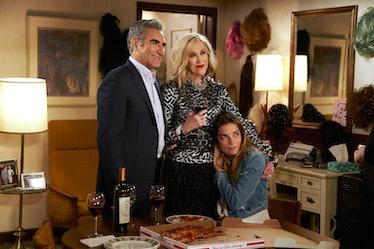 Johnny, Moira, and Alexis Rose in CBC's 'Schitt's Creek' in the Rosebud Motel