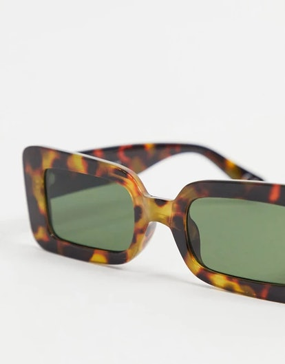 ASOS Design Recycled Frame Mid Square Sunglasses in Tort