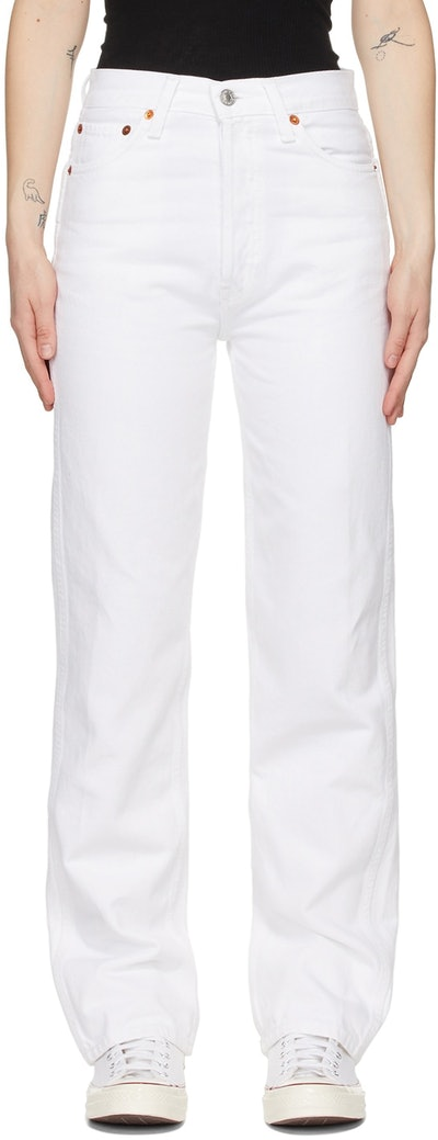 White 90s High-Rise Loose Jeans