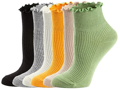 Mcool Mary Ruffle Turn-Cuff Ankle Socks (6-Pack)