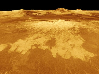 Sapas Mons is displayed in the center of this computer-generated three-dimensional perspective view of the surface of Venus.