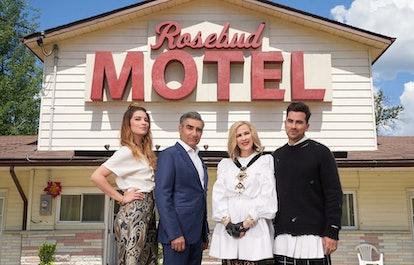The cast of CBC's 'Schitt's Creek' in front of the Rosebud Motel
