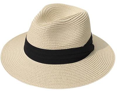 Lanzom Wide Brim Fedora Hat