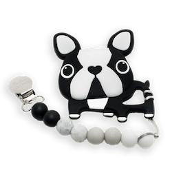 Silicone Boston Terrier Teether & Holder