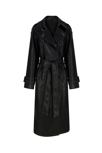 Black Leather Vegan Trench
