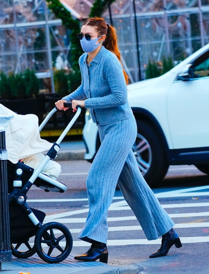 Gigi Hadid takes baby Khai to lunch on March 29, 2021 in New York City.