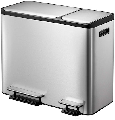 EKO Dual Compartment Stainless Steel Recycle Step Trash