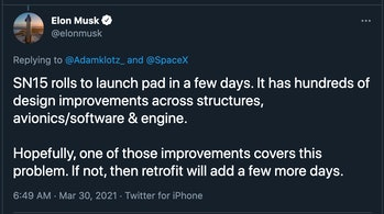 Musk tweet reading: SN15 rolls to launch pad in a few days. It has hundreds of design improvements across structures, avionics/software & engine.   Hopefully, one of those improvements covers this problem. If not, then retrofit will add a few more days.
