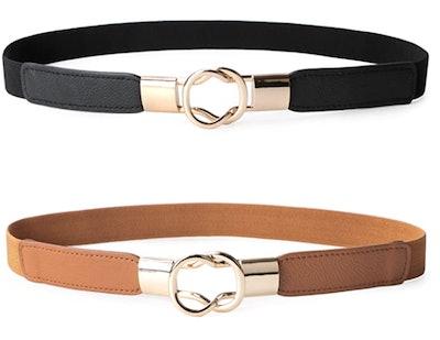 JASGOOD Skinny Belts (2-Pack)