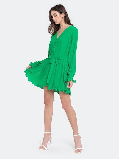 Chiffon Pleated Mini Dress