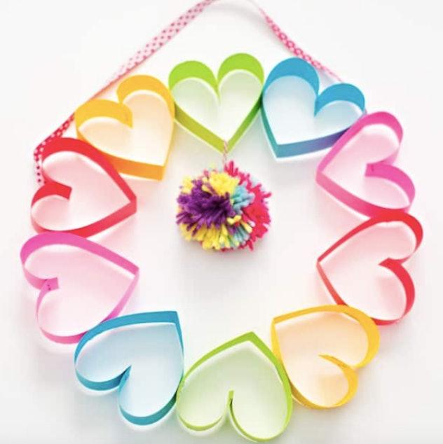 rainbow paper heart wreath
