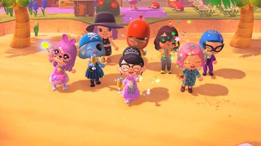 8 Animal Crossing characters from the Critter Keepers mom group hanging out jubilantly