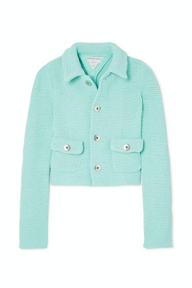 Cropped Open-Knit Cotton-Blend Jacket
