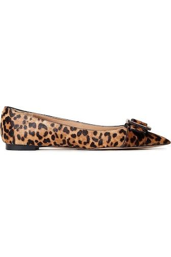 Sonja buckle-embellished leopard-print calf hair point-toe flats