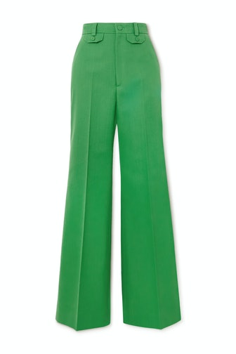 Green Twill Flared Pants