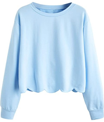 Romwe Scalloped Hem Cropped Sweatshirt
