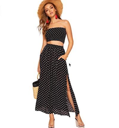 Floerns 2-Piece Polka Dots Crop Top and Long Skirt Set