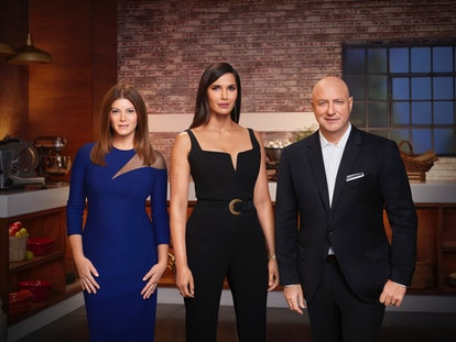 Gail Simmons Padma Lakshmi and Tom Colicchio in 'Top Chef' via NBC press site.