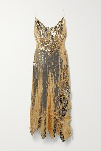 Gold Asymmetric Metallic Sequined Georgette Midi Dress