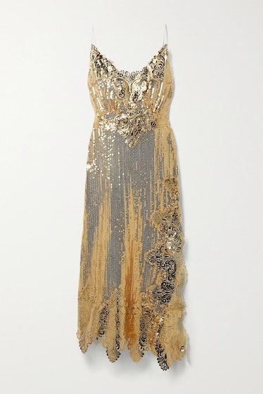 Gold Asymmetric Metallic Sequined Georgette Midi Dress