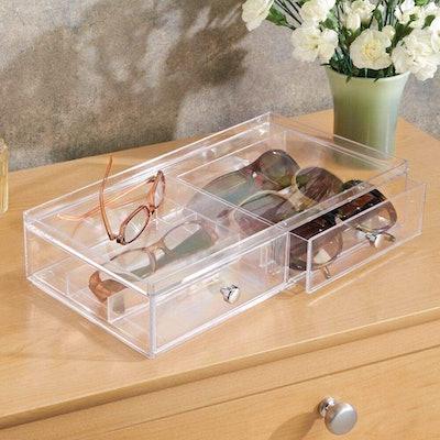 mDesign Stackable Eye Glass Storage Box