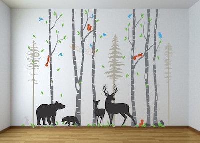 Removable Nursery Birch Tree Forest