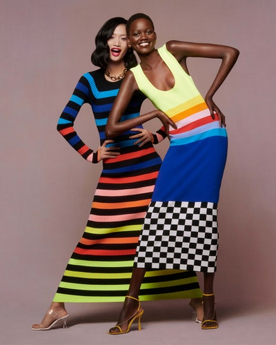 Models wearing Christopher John Rogers dresses for Net-a-Porter's Spring/Summer 2021 'Ready To Wear?' campaign.