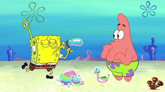 "SpongeBob SquarePants blows a bubble in Bikini Bottom on an episode of Nickelodeon's ""SpongeBob SquarePants."""