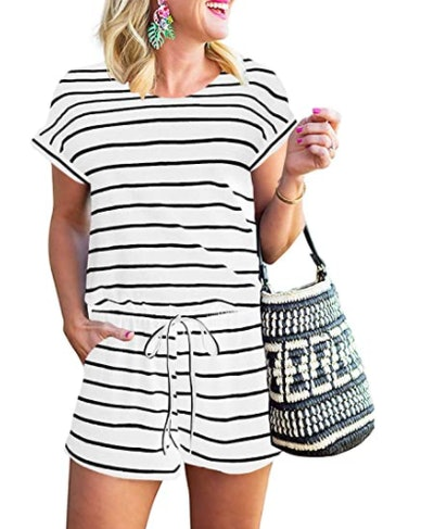 ANRABESS Short Sleeve Striped Romper