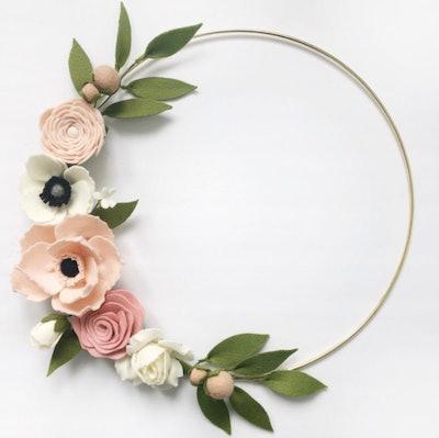 HeartfeltBlooms Pink Felt Flower Hoop Wreath