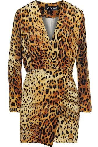 Wrap-effect pleated leopard-print silk crepe de chine mini dress
