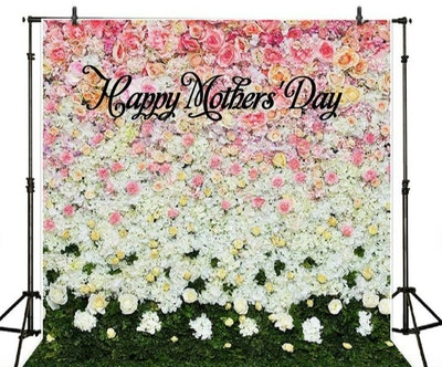 JamesPrintsBackdrop Flower Wall & Grass Backdrop Happy Mothers' Day Banner